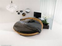 round-black-leather-wooden-beds